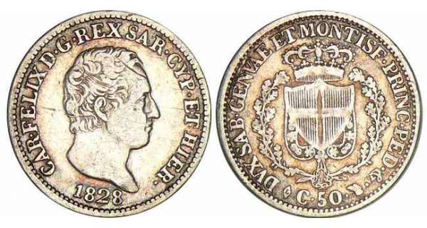 Italie - Rgne de Sardaigne - Carlo Felice - 50 centesimi 1828 (Turin)