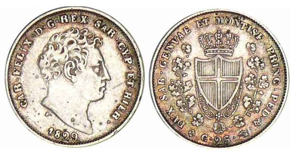 Italie - Rgne de Sardaigne - Carlo Felice - 25 centesimi 1829 (Turin)