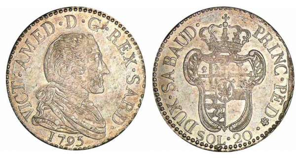 Italie - Rgne de Sardaigne - Vittorio Amedeo III - 20 soldi 1795 (Turin)