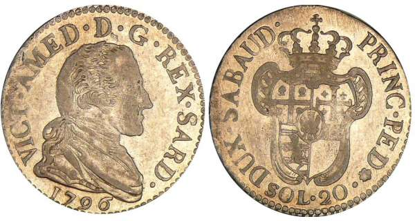 Italie - Rgne de Sardaigne - Vittorio Amedeo III - 20 soldi 1796 (Turin)