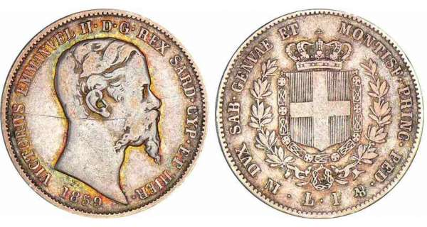 Italie - Rgne de Sardaigne - Vittorio Emanuele II - 1 lira 1859 (Milan)
