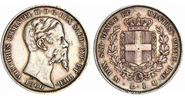 Italie - Rgne de Sardaigne - Vittorio Emanuele II - 1 lira 1860 (Milan)