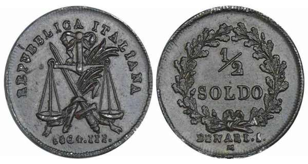 Italie - Rpublique italienne - 1/2 soldo 1804 (Milan) essai