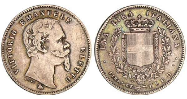 Italie - Vittorio Emanuele II - 1 lira 1860 (Florence)