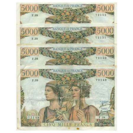 Lot de 4 billets de 5000 francs
