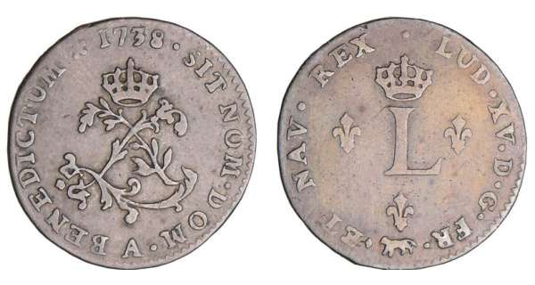 Louis XV (1715-1774) - Double sol de billon - 1738 A (Paris)
