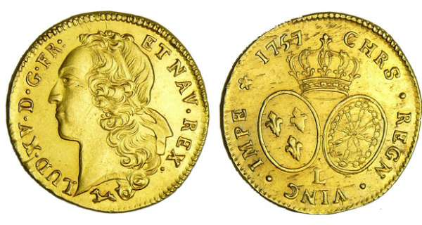 Louis XV (1715-1774) - Double louis d'or au bandeau - 1757 L (Bayonne)