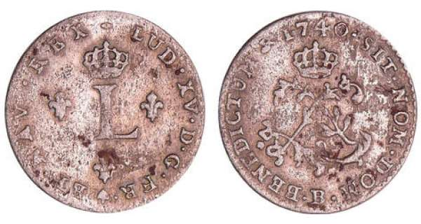 Louis XV (1715-1774) - Double sol de billon - 1740 B (Rouen)