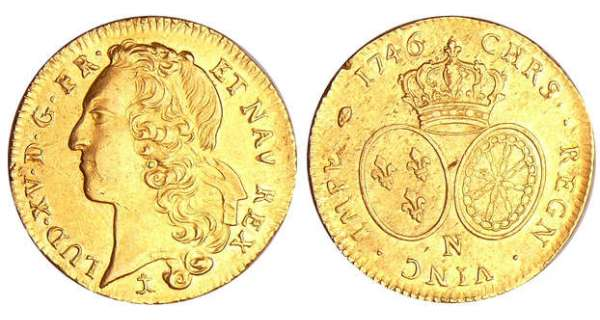 Louis XV (1715-1774) - Double louis d'or au bandeau - 1746 N (Montpellier)