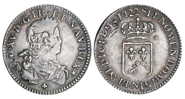 Louis XV (1715-1774) - 1/6 écu de France - 1722 N (Montpellier)