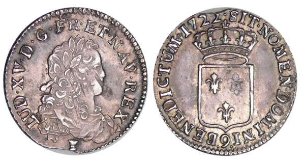 Louis XV (1715-1774) - 1/3 écu de France - 1722 9 (Rennes)