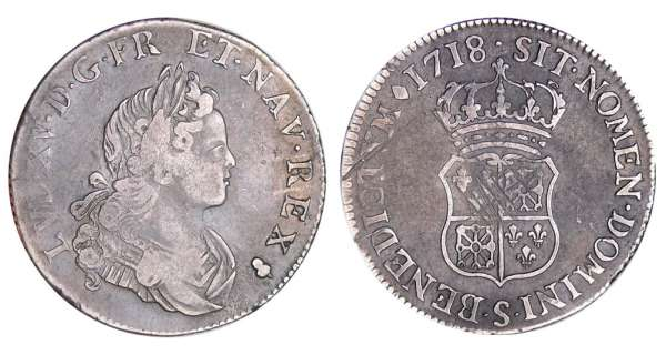 Louis XV (1715-1774) - ¼ écu de France-Navarre - 1718 S (Reims)
