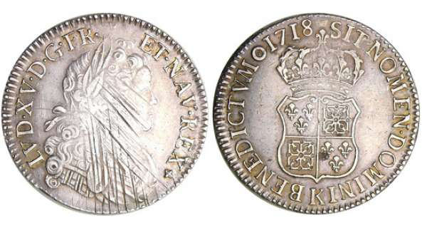 Louis XV (1715-1774) - Ecu de France-Navarre - 1718 K (Bordeaux)