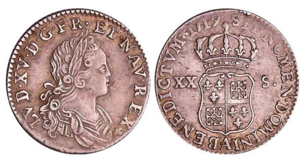 Louis XV (1715-1774) - XX sols de France-Navarre - 1719 A (Paris)