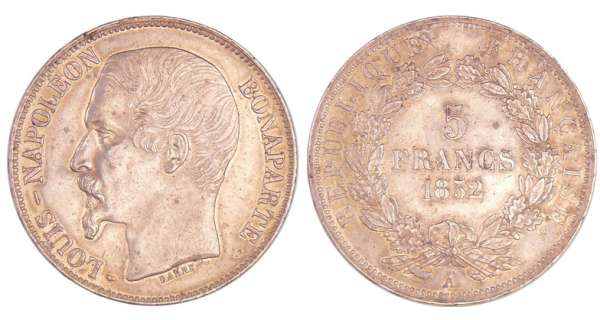 Louis Napoléon Bonaparte (1848-1852) - 5 francs 1852 A (Paris)