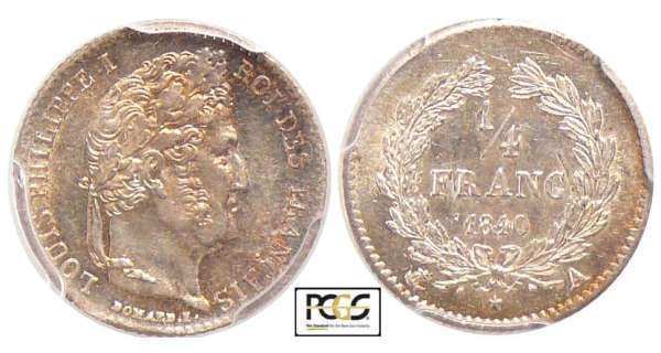 Louis-Philippe Ier (1830-1848) - 1/4 de franc 1840 A( Paris)