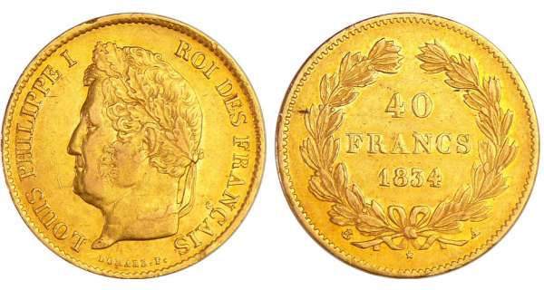 Louis-Philippe Ier (1830-1848) - 40 francs 1834 A (Paris)