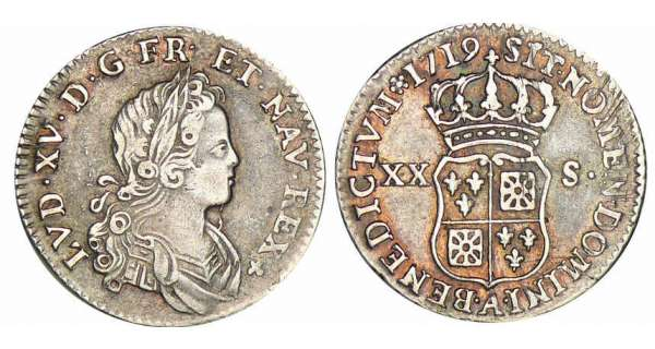 Louis XV - XX sols de France-Navarre - 1719 A (Paris)