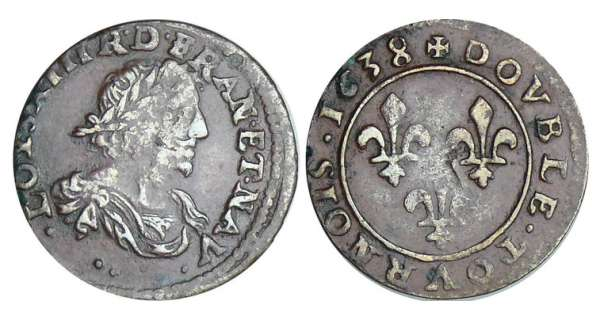 Louis XIII (1610-1643) - Double tournois au buste viril drapé à l'antique - 1638 ..