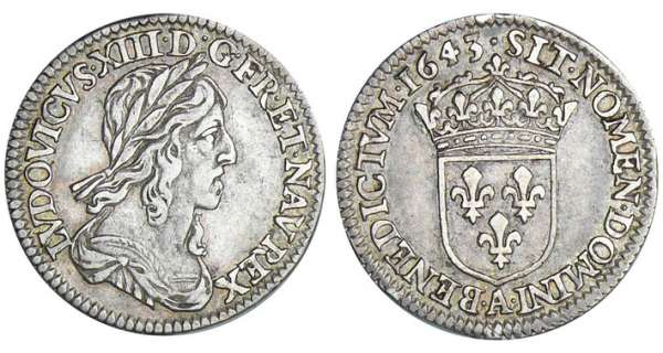 Louis XIII (1610-1643) - 1/12 écu du 2ème poinçon de Warin - 1643 A (Paris) point sans baies