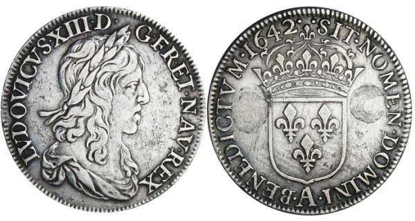 Louis XIII (1610-1643) - ½ écu du 1er poinçon de Warin - 1642 A (Paris) point point avec baies