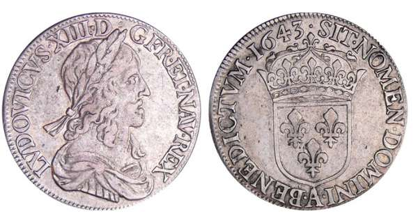 Louis XIII (1610-1643) - ½ écu du 2ème poinçon de Warin - 1643 A (Paris) point