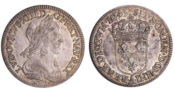 Louis XIII (1610-1643) - ¼ écu du 2ème poinçon de Warin - 1643 A (Paris) point