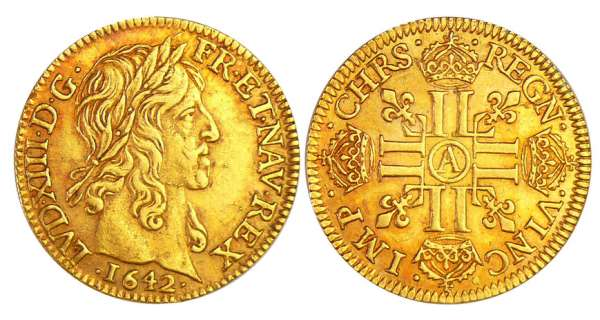 Louis XIII (1610-1643) - Louis d'or à la mèche mi-longue - 1642 A (Paris)