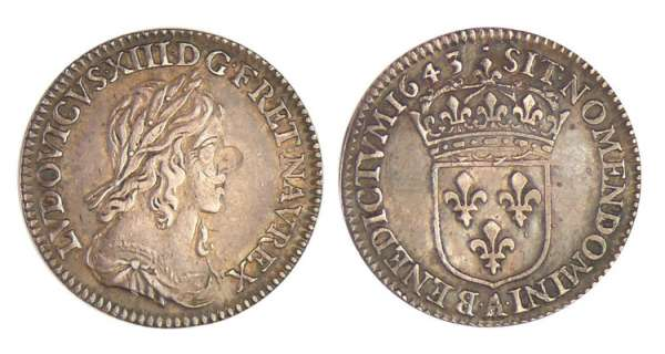 Louis XIII (1610-1643) - 1/12 d'écu du 2ème poinçon de Warin - 1642 A (Paris), Point