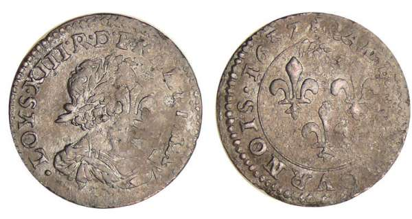 Louis XIII (1610-1643) - Double tournois au buste viril drapé à l'antique - 1637 (double frappe)