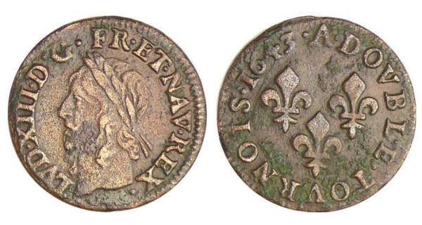 Louis XIII (1610-1643) - Double tournois de Warin - 1643 A (Paris)