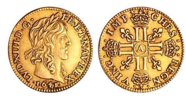 Louis XIII (1610-1643) - ½ louis d'or à la mèche mi-longue - 1641 A (Paris)