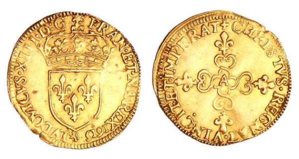 Louis XIII (1610-1643) - Ecu d'or frappe au marteau - 1615 A (Paris)