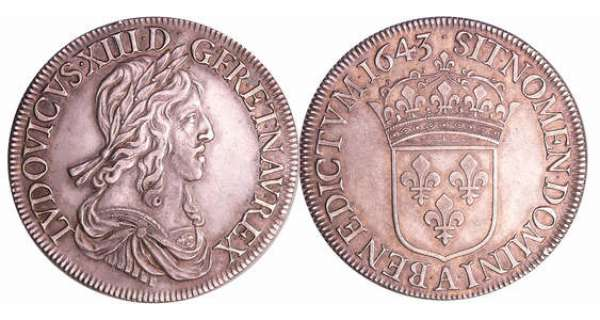 Louis XIII (1610-1643) - Ecu du 2ème poinçon de Warin - 1643 A (Paris) . et baies