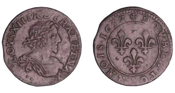 Louis XIII (1610-1643) - Double tournois au buste viril drapé à l'antique - 1637 °°