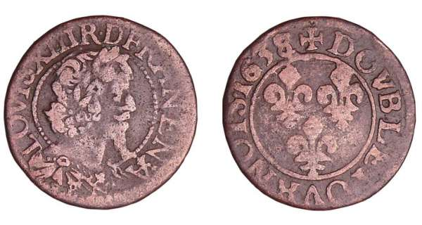 Louis XIII (1610-1643) - Double tournois au buste viril drapé à l'antique - 1638 B (Rouen)