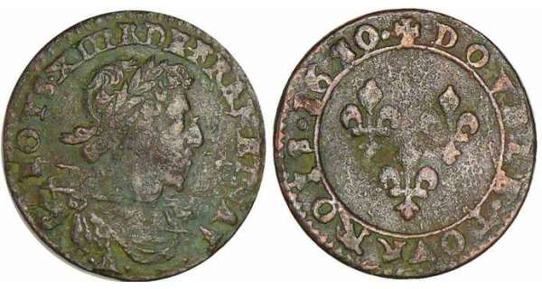Louis XIII - Double tournois au buste viril drap  lantique - 1630 E (Tours)