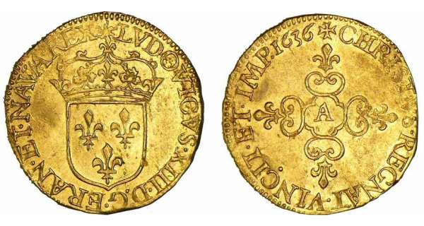 Louis XIII - Ecu d'or frappe au marteau - 1636 A (Paris)