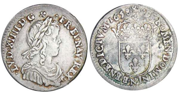 Louis XIV (1643-1715) - 1/12 dcu  la mche longue - 1658 N (Montpellier)