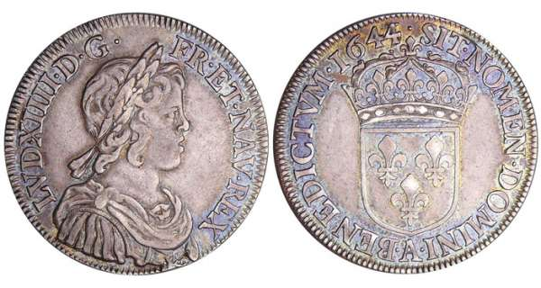 Louis XIV (1643-1715) - ½ écu à la mèche courte - 1644 A (Paris) point 44 sur 43