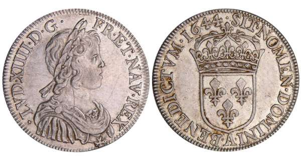 Louis XIV (1643-1715) - ½ écu à la mèche courte - 1644 A (Paris) point