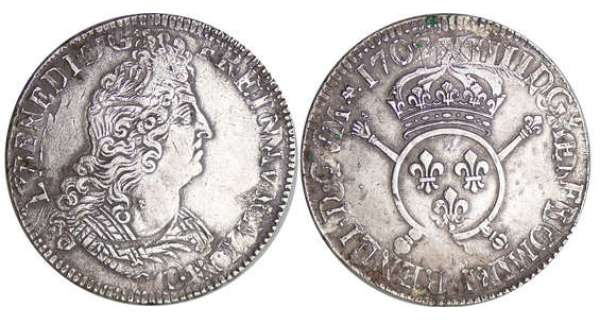 Louis XIV (1643-1715) - Ecu aux insignes - 1702 A (Paris)