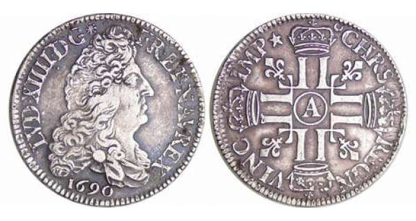 Louis XIV (1643-1715) - ½ écu aux 8 L, 1er type - 1690 A (Paris)