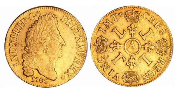 Louis XIV (1643-1715) - Double louis d'or aux 4 L - 1700 A (Paris) flan neuf