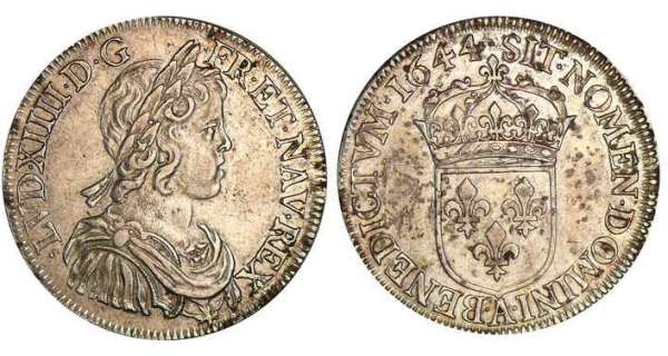 Louis XIV (1643-1715) - ½ d'écu à la mèche courte - 1644 A (Paris) point