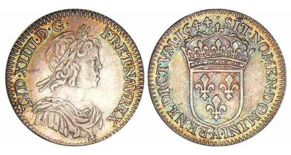 Louis XIV - 1/12 cu  la mche courte - 1644 A (Paris) point