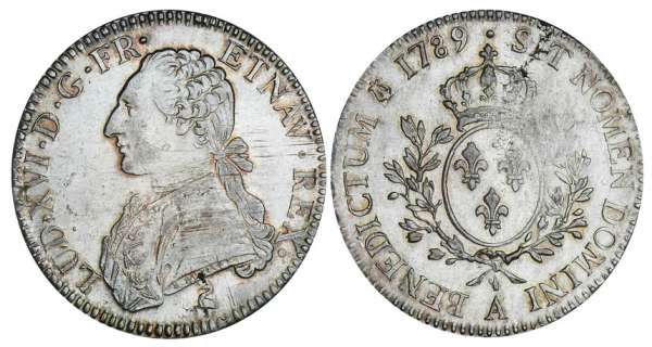 Louis XVI (1774-1792) - Ecu aux branches dolivier - 1789 A (Paris) 2me sem