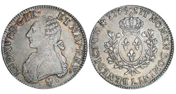 Louis XVI (1774-1792) - Ecu aux branches dolivier - 1785 L (Bayonne)