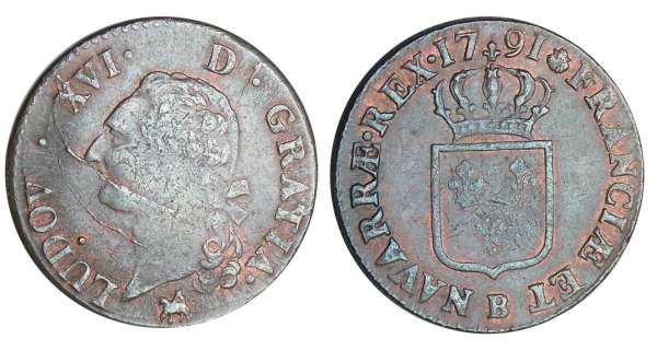 Louis XVI (1774-1792) - Sol - 1791 B (Rouen)
