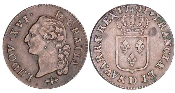 Louis XVI (1774-1792) - Sol - 1791 D (Lyon)